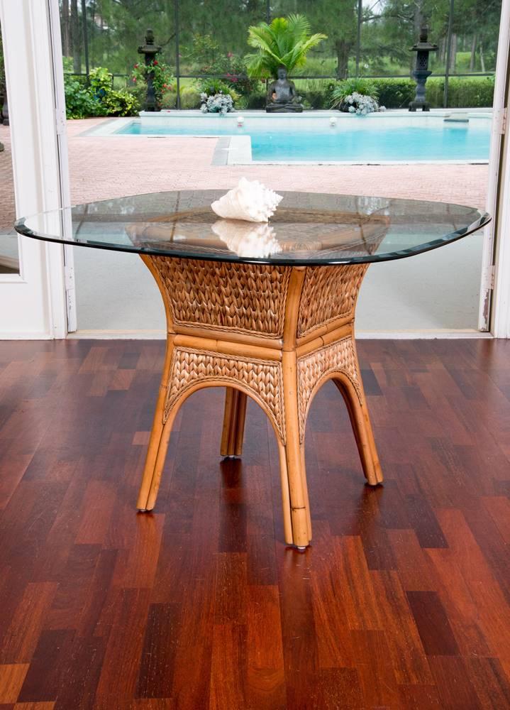 Key Largo Square Round Table Base Antique Honey Finish