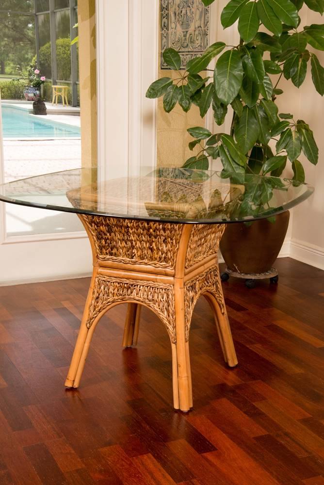 Panama Square Round Table Base Antique Honey Finish
