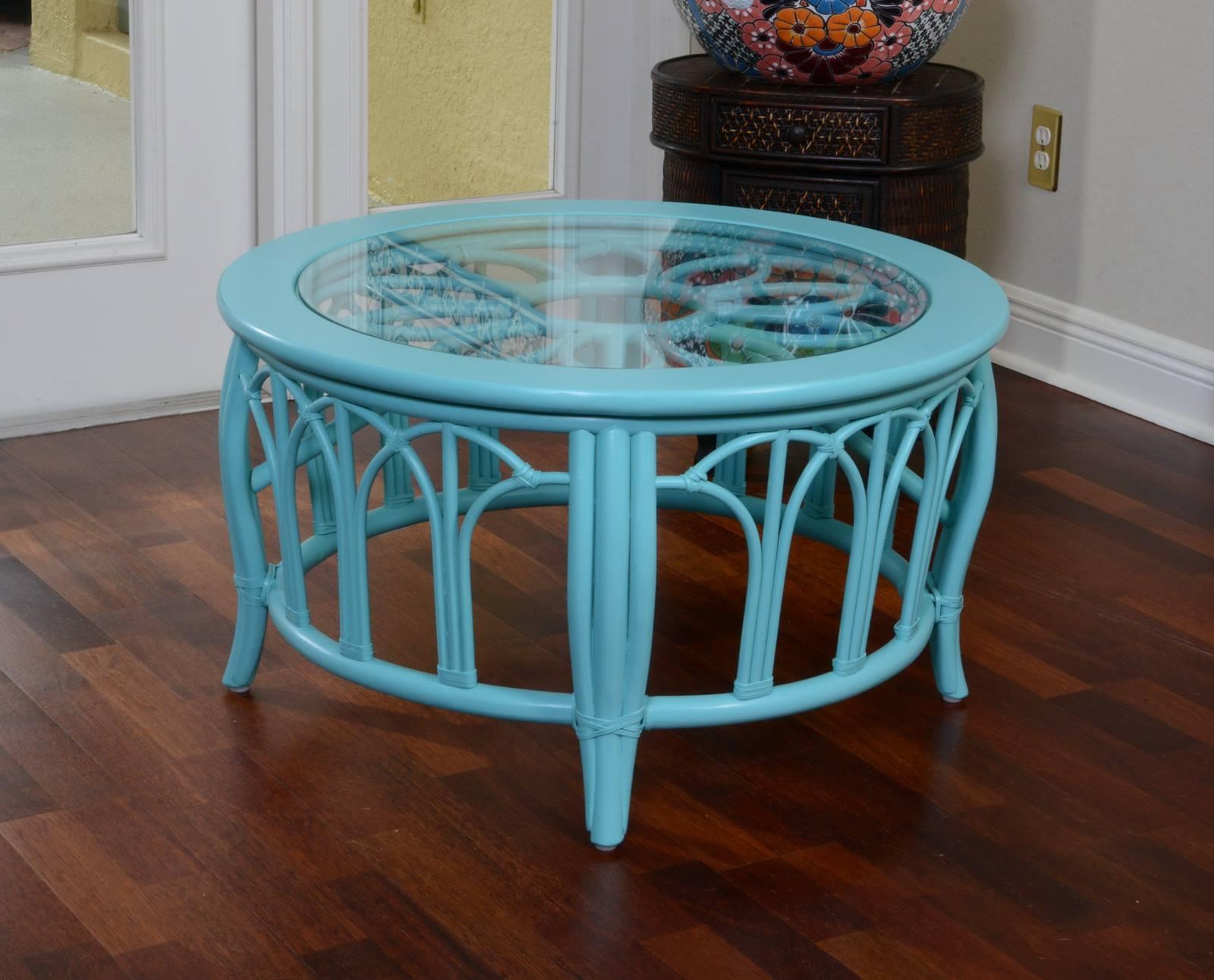 Cuba Accent Tables Aqua Set Of 2 With Glass Alexander