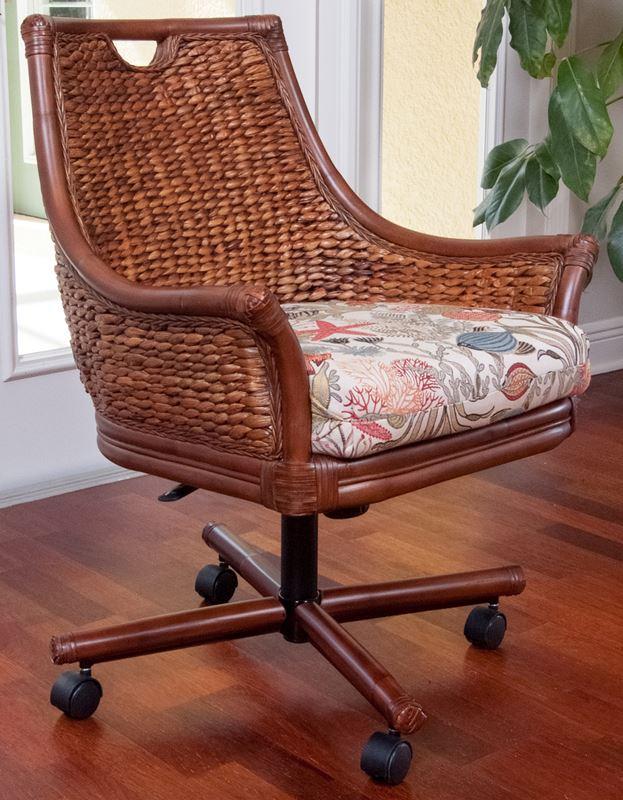 Havana Tilt Swivel Caster Chair Antique Honey Finish