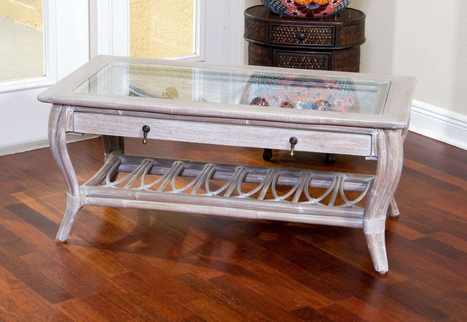 Cuba Cocktail Table With Glass Rustic Driftwood Finish Alexander Sheridan Casual